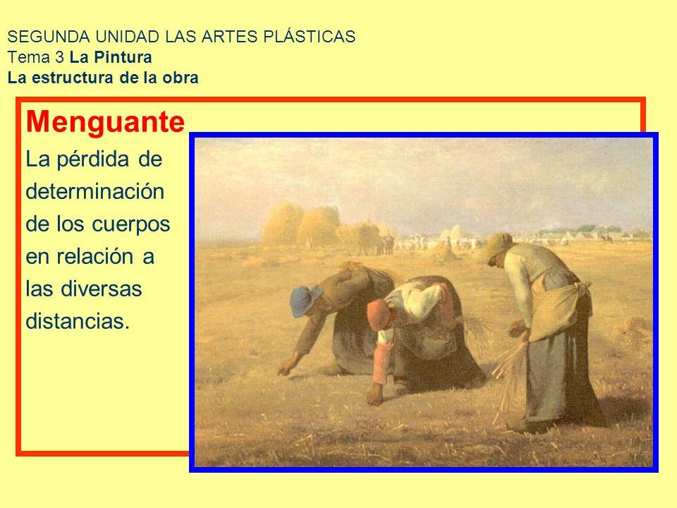 SEGUNDA UNIDAD LAS ARTES PLÁSTICAS Tema 3 La Pintura La estructura de la obra Menguante La pérdida de determinación de los cuerpos en relación a las d