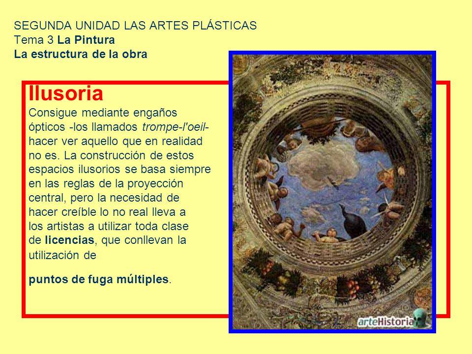 SEGUNDA UNIDAD LAS ARTES PLÁSTICAS Tema 3 La Pintura La estructura de la obra Ilusoria Consigue mediante engaños ópticos -los llamados trompe-l'oeil-