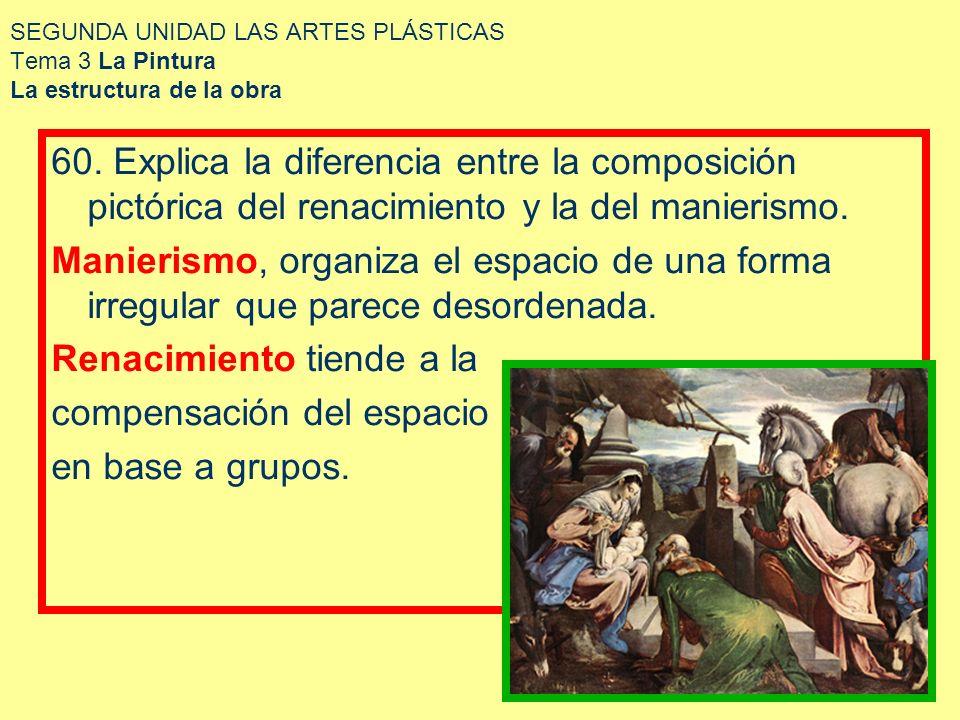 SEGUNDA UNIDAD LAS ARTES PLÁSTICAS Tema 3 La Pintura La estructura de la obra 60. Explica la diferencia entre la composición pictórica del renacimient