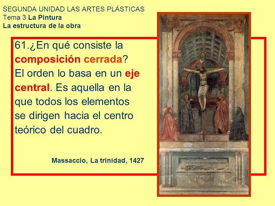 SEGUNDA UNIDAD LAS ARTES PLÁSTICAS Tema 3 La Pintura La estructura de la obra 61.¿En qué consiste la composición cerrada? El orden lo basa en un eje c