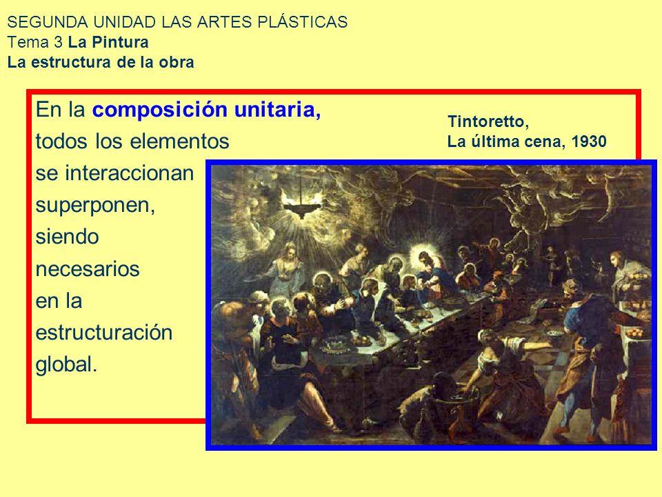 SEGUNDA UNIDAD LAS ARTES PLÁSTICAS Tema 3 La Pintura La estructura de la obra En la composición unitaria, todos los elementos se interaccionan superpo