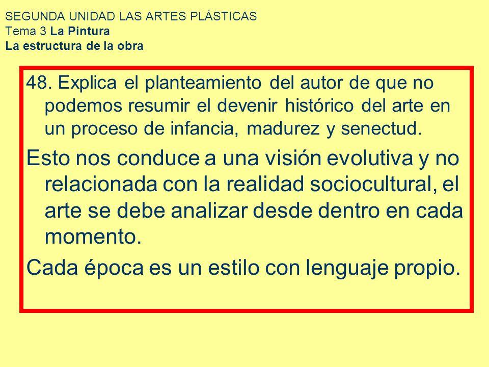 SEGUNDA UNIDAD LAS ARTES PLÁSTICAS Tema 3 La Pintura La estructura de la obra 48. Explica el planteamiento del autor de que no podemos resumir el deve
