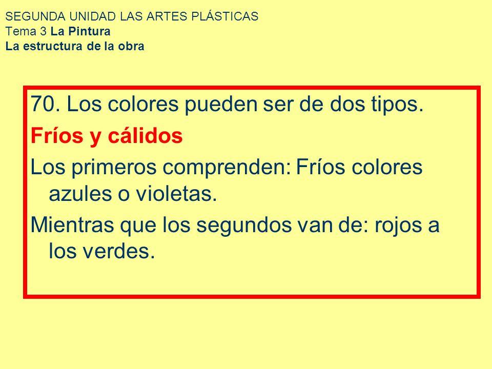 SEGUNDA UNIDAD LAS ARTES PLÁSTICAS Tema 3 La Pintura La estructura de la obra 70. Los colores pueden ser de dos tipos. Fríos y cálidos Los primeros co