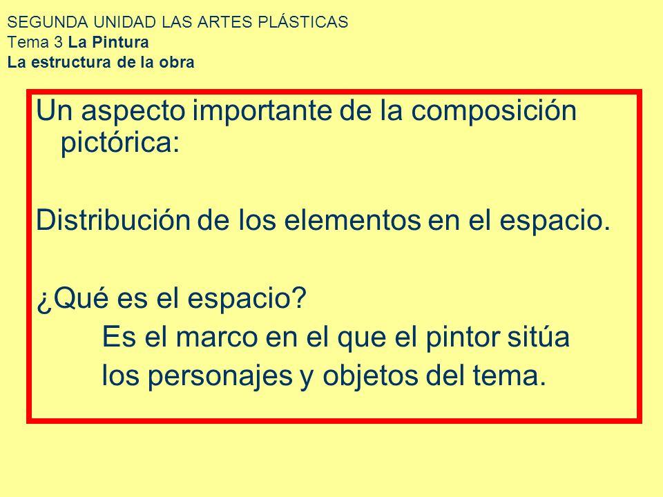 SEGUNDA UNIDAD LAS ARTES PLÁSTICAS Tema 3 La Pintura La estructura de la obra Un aspecto importante de la composición pictórica: Distribución de los e