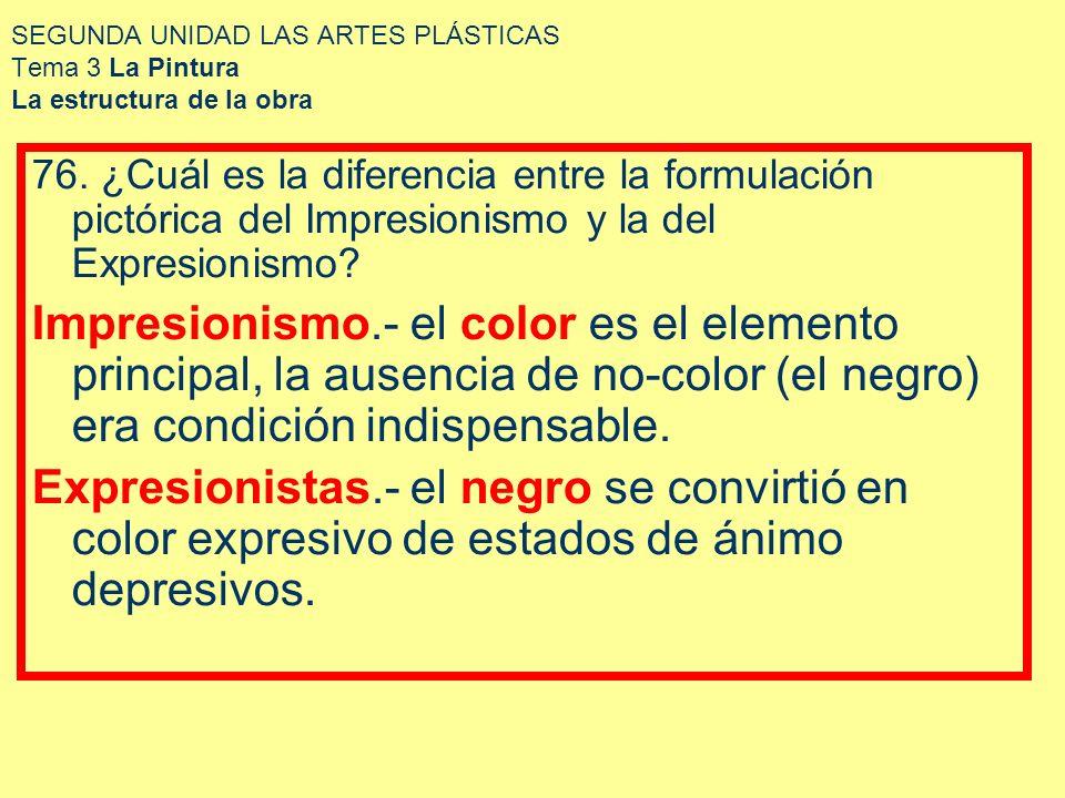 SEGUNDA UNIDAD LAS ARTES PLÁSTICAS Tema 3 La Pintura La estructura de la obra 76. ¿Cuál es la diferencia entre la formulación pictórica del Impresioni