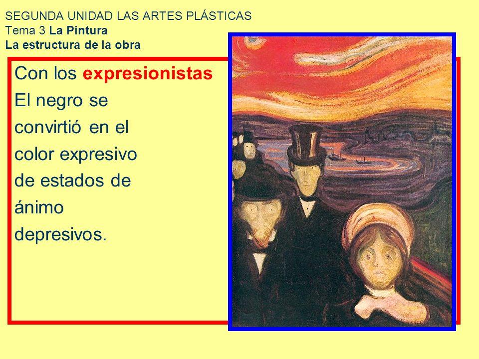 SEGUNDA UNIDAD LAS ARTES PLÁSTICAS Tema 3 La Pintura La estructura de la obra Con los expresionistas El negro se convirtió en el color expresivo de es