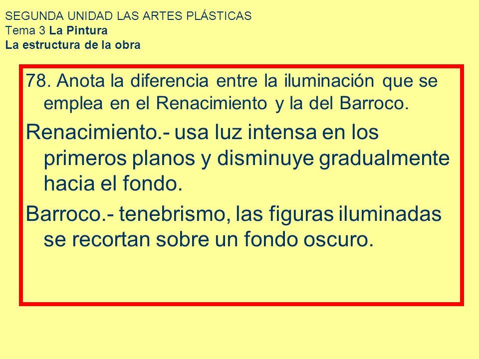 SEGUNDA UNIDAD LAS ARTES PLÁSTICAS Tema 3 La Pintura La estructura de la obra 78. Anota la diferencia entre la iluminación que se emplea en el Renacim