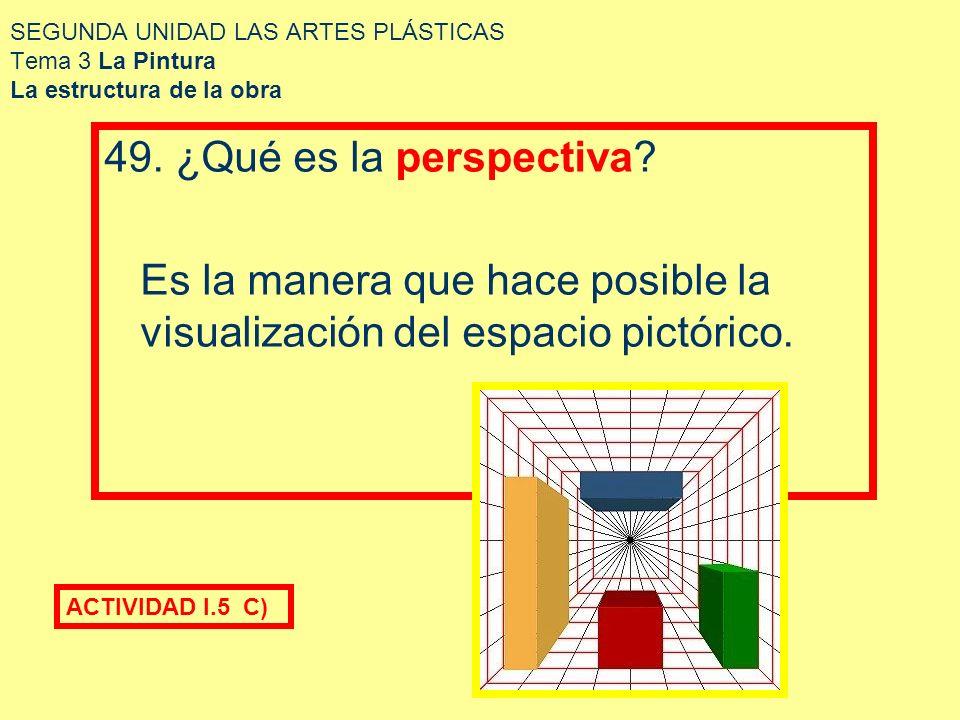 SEGUNDA UNIDAD LAS ARTES PLÁSTICAS Tema 3 La Pintura La estructura de la obra La ciencia de la pintura es madre de la perspectiva, la ciencia de las líneas de visión, se divide en tres partes: perspectiva lineal.- construcción de las líneas de los cuerpos.