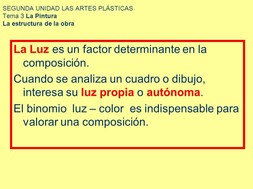 SEGUNDA UNIDAD LAS ARTES PLÁSTICAS Tema 3 La Pintura La estructura de la obra La Luz es un factor determinante en la composición. Cuando se analiza un