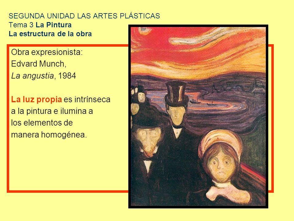 SEGUNDA UNIDAD LAS ARTES PLÁSTICAS Tema 3 La Pintura La estructura de la obra Obra expresionista: Edvard Munch, La angustia, 1984 La luz propia es int