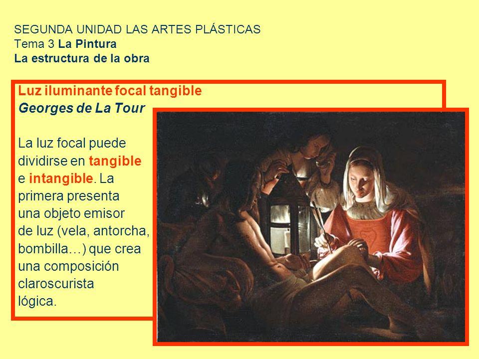 SEGUNDA UNIDAD LAS ARTES PLÁSTICAS Tema 3 La Pintura La estructura de la obra Luz iluminante focal tangible Georges de La Tour La luz focal puede divi