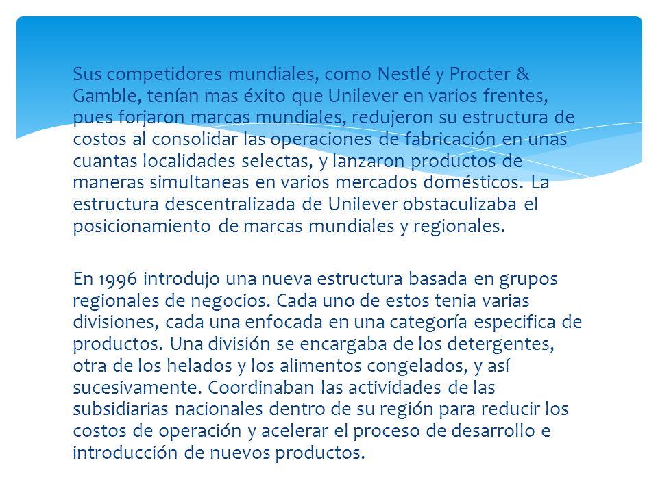 Sus competidores mundiales, como Nestlé y Procter & Gamble, tenían mas éxito que Unilever en varios frentes, pues forjaron marcas mundiales, redujeron