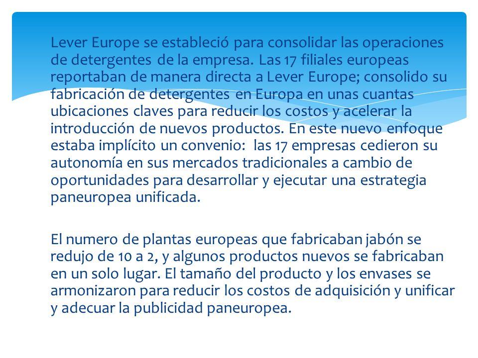Lever Europe se estableció para consolidar las operaciones de detergentes de la empresa. Las 17 filiales europeas reportaban de manera directa a Lever