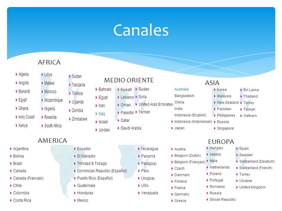 Canales AFRICA AMERICA ASIA EUROPA MEDIO ORIENTE
