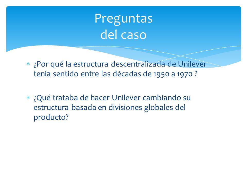 ¿Por qué la estructura descentralizada de Unilever tenia sentido entre las décadas de 1950 a 1970 ? ¿Qué trataba de hacer Unilever cambiando su estruc