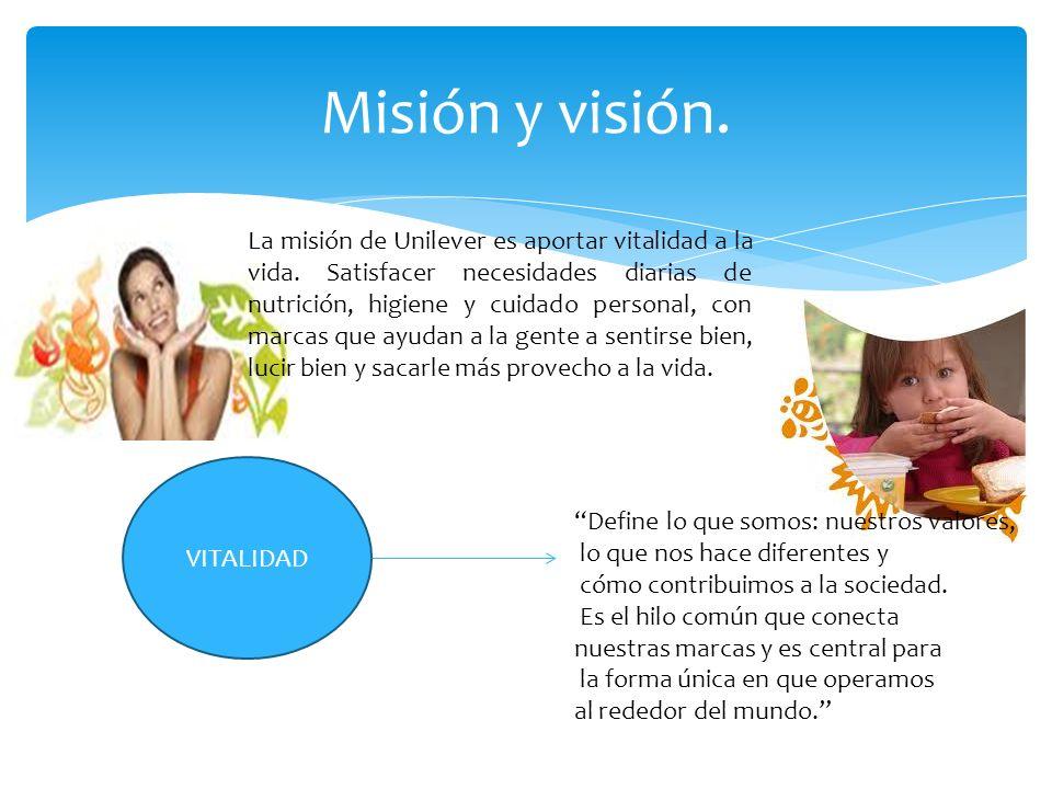 Misión y visión. La misión de Unilever es aportar vitalidad a la vida. Satisfacer necesidades diarias de nutrición, higiene y cuidado personal, con ma