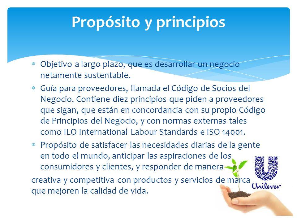 Objetivo a largo plazo, que es desarrollar un negocio netamente sustentable. Guía para proveedores, llamada el Código de Socios del Negocio. Contiene
