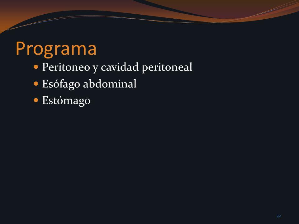 Programa Peritoneo y cavidad peritoneal Esófago abdominal Estómago 32