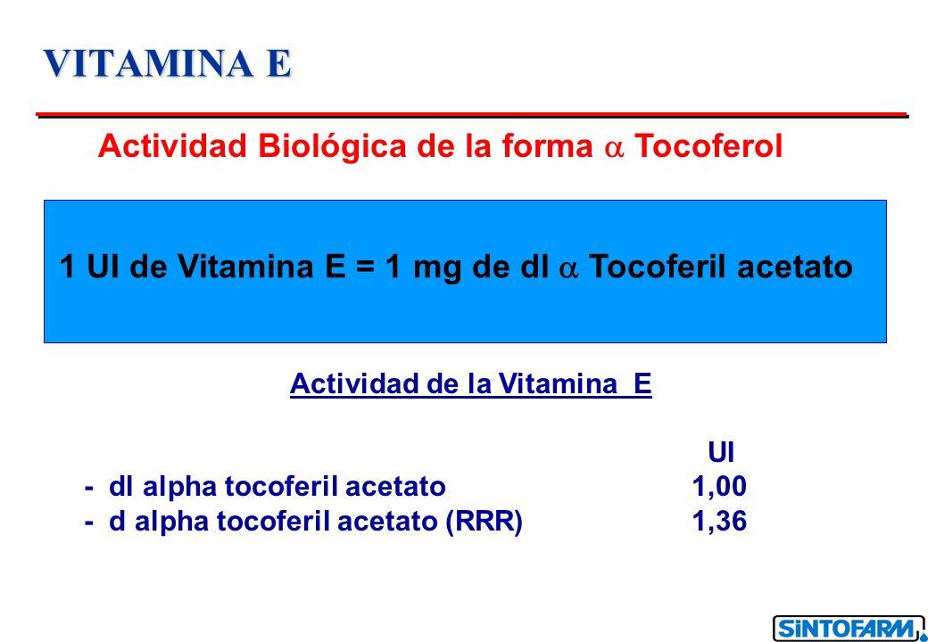 VITAMINA E Actividad Biológica de la forma Tocoferol 1 UI de Vitamina E = 1 mg de dl Tocoferil acetato Actividad de la Vitamina E UI - dl alpha tocofe
