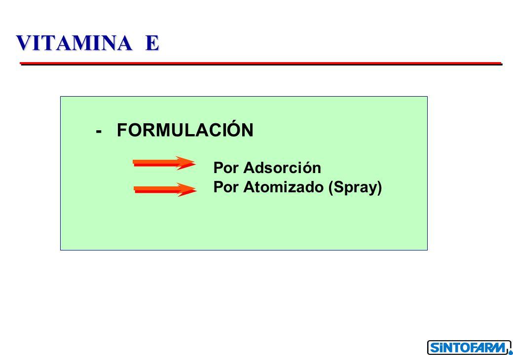La sílica granulada con capacidad de adsorción permite alcanzar la concentración estandár de 50% mientras mantiene una buena fluidez Principio 100 21 16,5 5063 303 Vitamina E adicionada (ml/100 ml sílica) Grado de saturación % Grado de saturación de la sílica de acuerdo a la cantidad de vitamina E adicionada Límite de fluídez Aceite BASF Sílica Granulada VITAMINA E 50% F.G.
