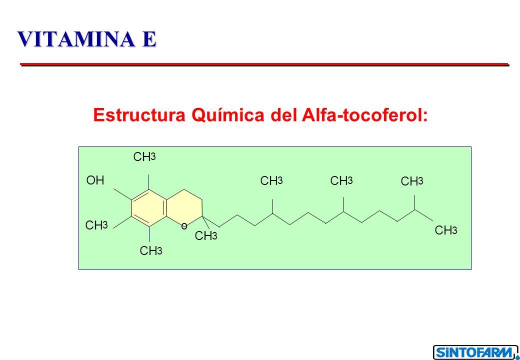 VITAMINA E 1 UI de vitamina E = 1 mg de DL Tocoferil Acetato Actividad Biológica de las diferentes formas: Tocoferol 100 Tocoferol 30 - 35 Tocoferol 1 - 10 Tocoferol