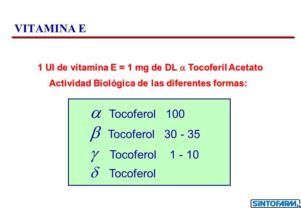VITAMINA E 1 UI de vitamina E = 1 mg de DL Tocoferil Acetato Actividad Biológica de las diferentes formas: Tocoferol 100 Tocoferol 30 - 35 Tocoferol 1