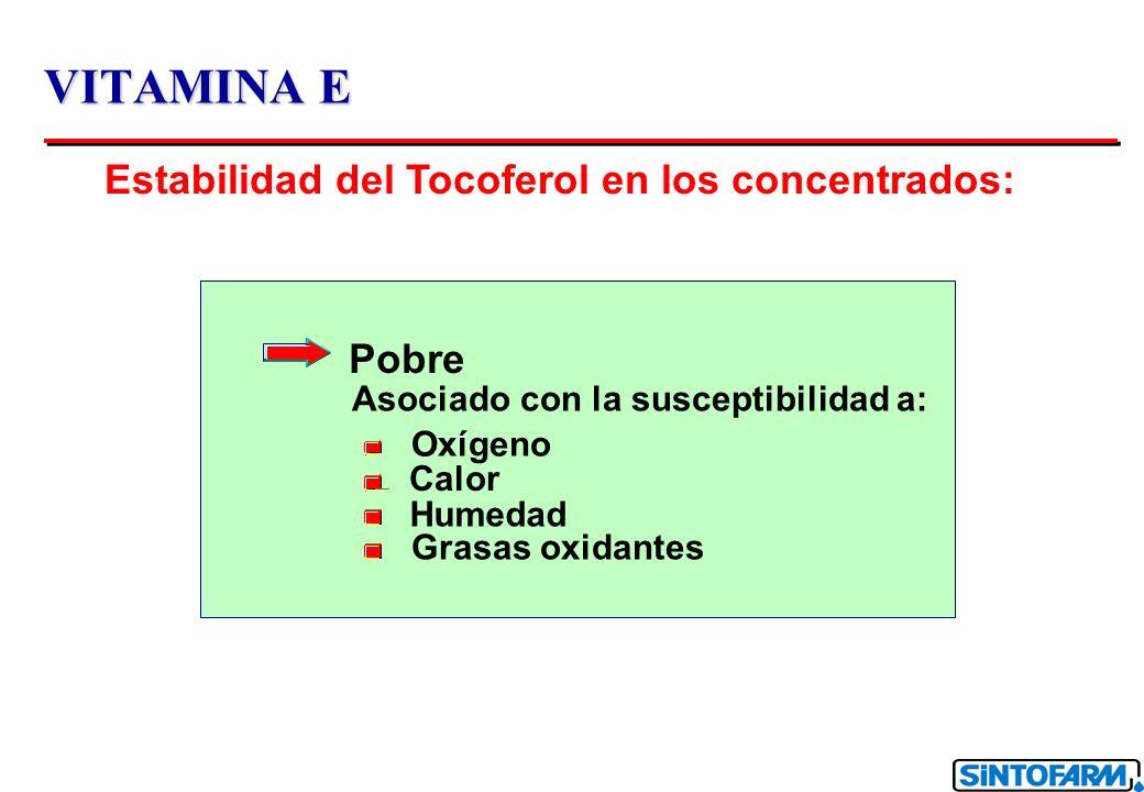 VITAMINA E Vitamina E Sintetizada: o CH 3 3 3 3 OH 2 CH 3 4 8 CH 3 Los ciclos de los grupos metilos (2, 4 , 8 ): Mezcla de la configuración R et S Los ciclos de los grupos metilos (2, 4 , 8 ): Mezcla de la configuración R et S dl Tocoferil acetato dl Tocoferil acetato Muy estable Muy estable