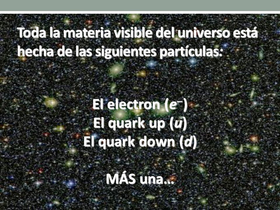 El electron (e ) El quark up (u) El quark down (d) MÁS una… Toda la materia visible del universo está hecha de las siguientes partículas: