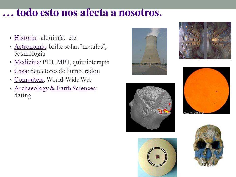 … todo esto nos afecta a nosotros. Historia: alquimía, etc. Astronomia: brillo solar, metales, cosmología Medicina: PET, MRI, quimioterapía Casa: dete