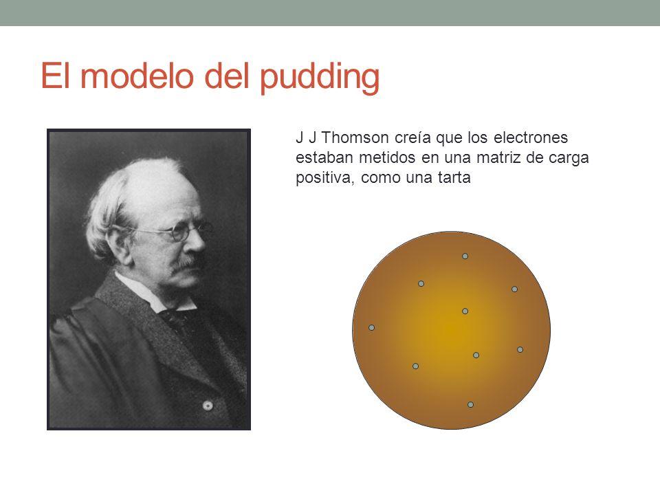 El modelo del pudding J J Thomson creía que los electrones estaban metidos en una matriz de carga positiva, como una tarta