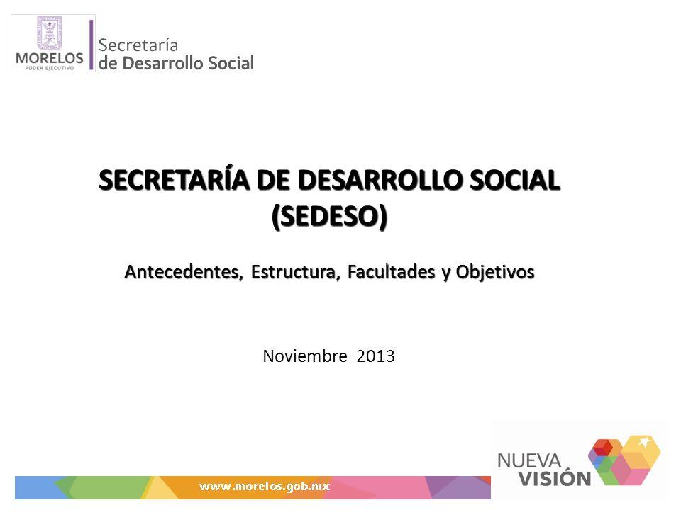 SECRETARÍA DE DESARROLLO SOCIAL (SEDESO) Antecedentes, Estructura, Facultades y Objetivos SECRETARÍA DE DESARROLLO SOCIAL (SEDESO) Antecedentes, Estru