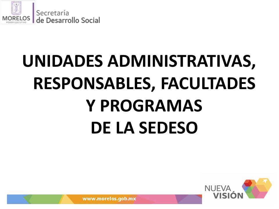 UNIDADES ADMINISTRATIVAS, RESPONSABLES, FACULTADES Y PROGRAMAS DE LA SEDESO