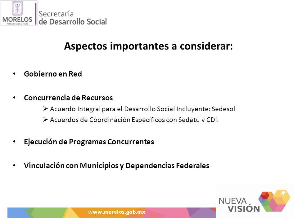 Aspectos importantes a considerar: Gobierno en Red Concurrencia de Recursos Acuerdo Integral para el Desarrollo Social Incluyente: Sedesol Acuerdos de