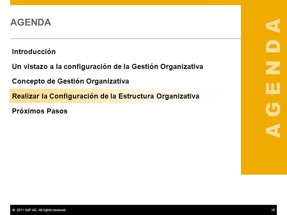 ©2011 SAP AG. All rights reserved.16 AGENDA Introducción Un vistazo a la configuración de la Gestión Organizativa Concepto de Gestión Organizativa Rea