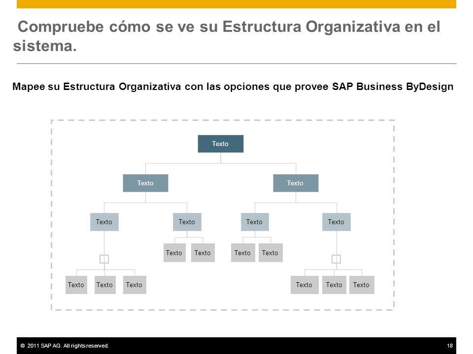 ©2011 SAP AG. All rights reserved.18 Compruebe cómo se ve su Estructura Organizativa en el sistema. Texto Mapee su Estructura Organizativa con las opc