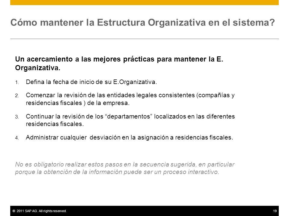 ©2011 SAP AG. All rights reserved.19 Cómo mantener la Estructura Organizativa en el sistema? Un acercamiento a las mejores prácticas para mantener la