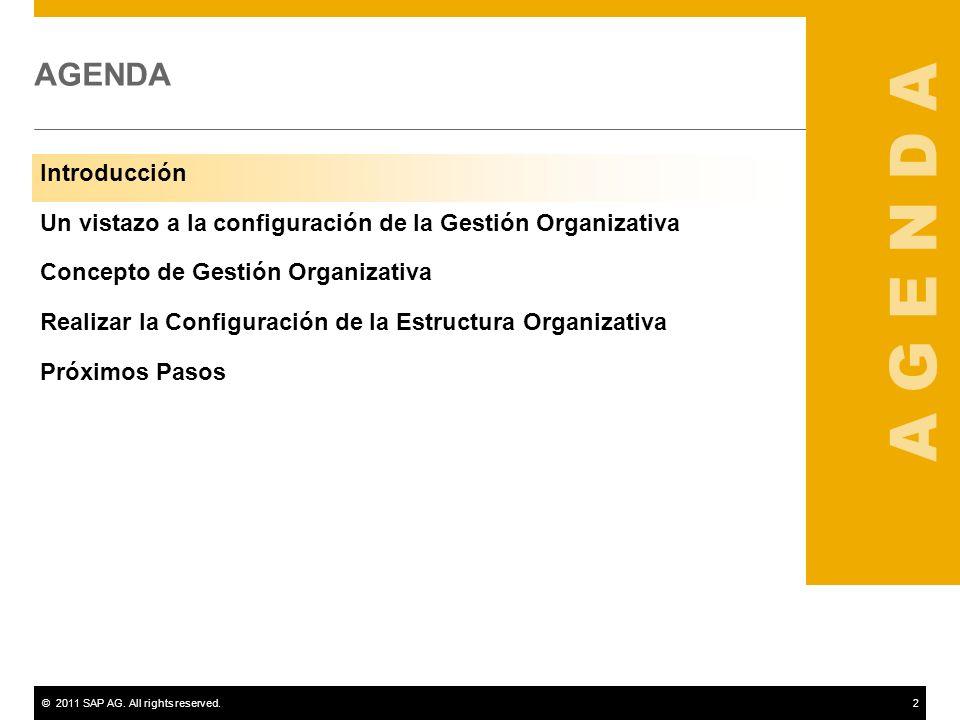 ©2011 SAP AG. All rights reserved.2 AGENDA Introducción Un vistazo a la configuración de la Gestión Organizativa Concepto de Gestión Organizativa Real