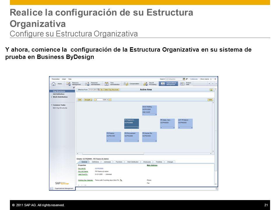©2011 SAP AG. All rights reserved.21 Realice la configuración de su Estructura Organizativa Configure su Estructura Organizativa Y ahora, comience la