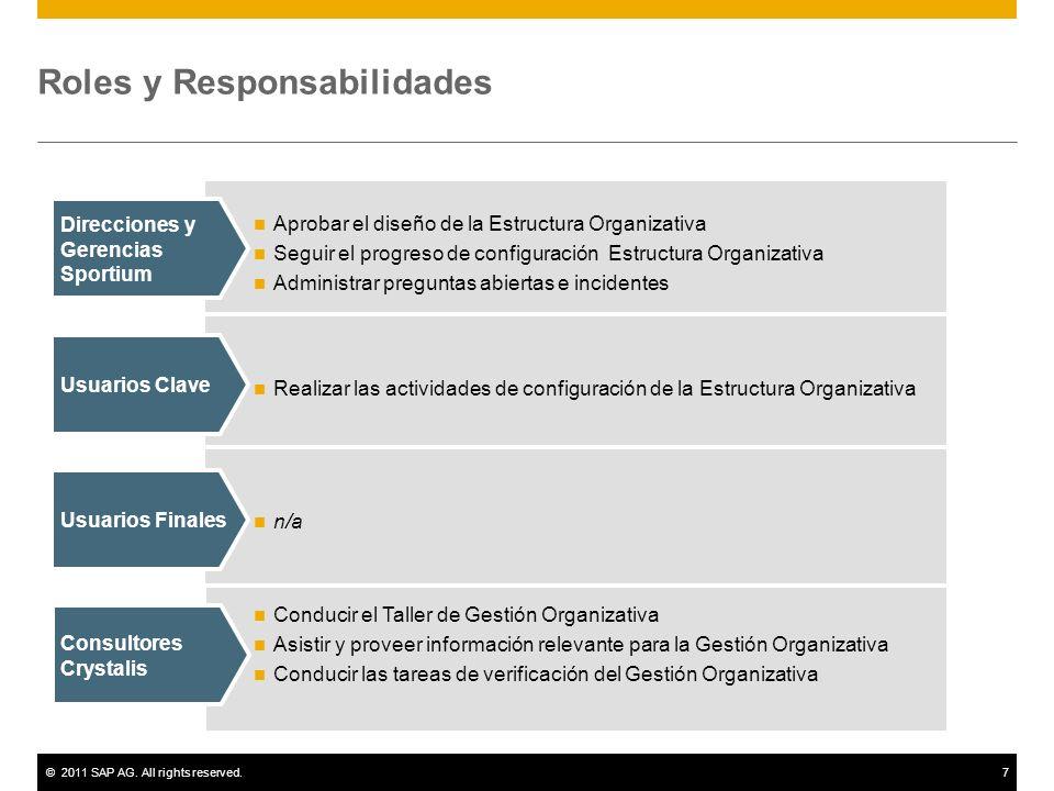 ©2011 SAP AG. All rights reserved.7 Roles y Responsabilidades Aprobar el diseño de la Estructura Organizativa Seguir el progreso de configuración Estr