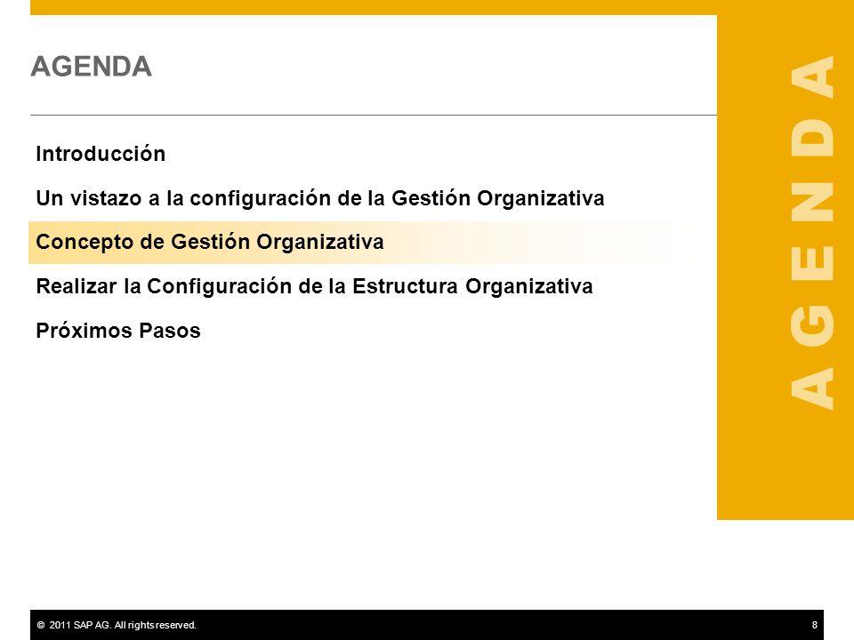 ©2011 SAP AG. All rights reserved.8 AGENDA Introducción Un vistazo a la configuración de la Gestión Organizativa Concepto de Gestión Organizativa Real