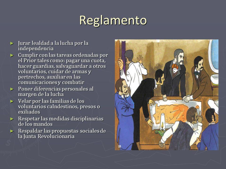 Reglamento Jurar lealdad a la lucha por la independencia Jurar lealdad a la lucha por la independencia Cumplir con las tareas ordenadas por el Prior t