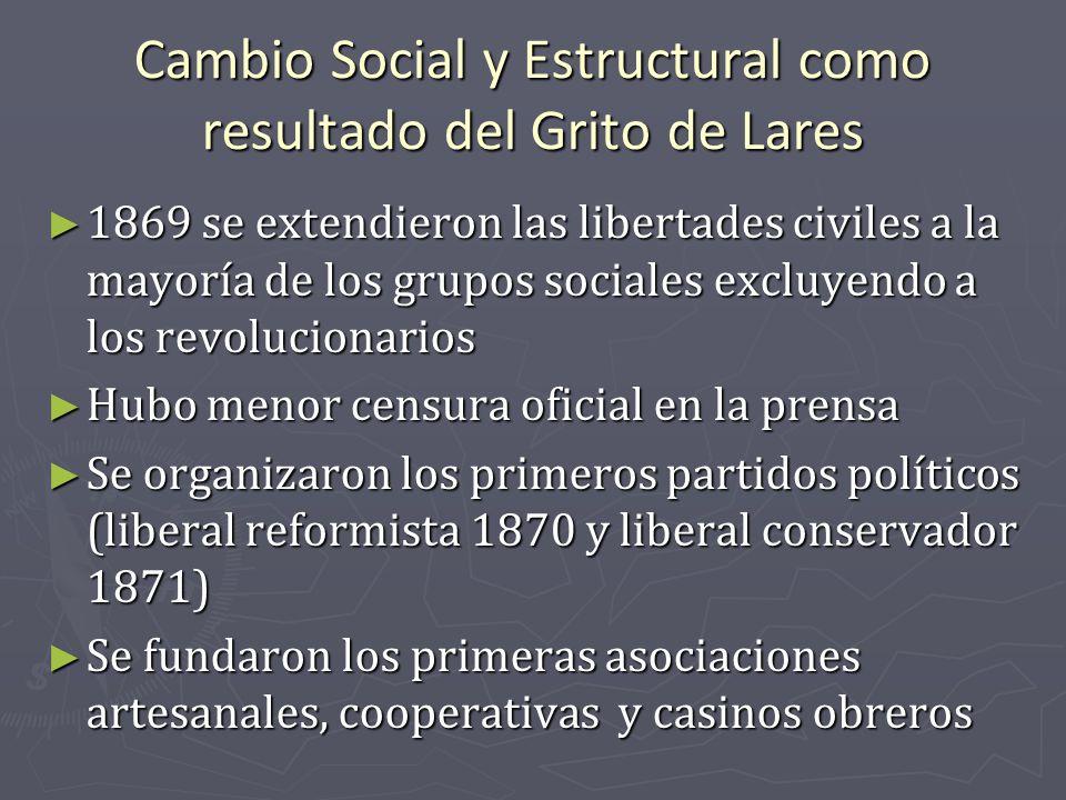 Cambio Social y Estructural como resultado del Grito de Lares 1869 se extendieron las libertades civiles a la mayoría de los grupos sociales excluyend
