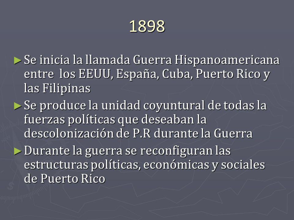 1898 Se inicia la llamada Guerra Hispanoamericana entre los EEUU, España, Cuba, Puerto Rico y las Filipinas Se inicia la llamada Guerra Hispanoamerica