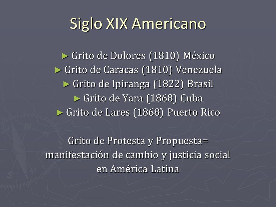 Siglo XIX Americano Grito de Dolores (1810) México Grito de Dolores (1810) México Grito de Caracas (1810) Venezuela Grito de Caracas (1810) Venezuela