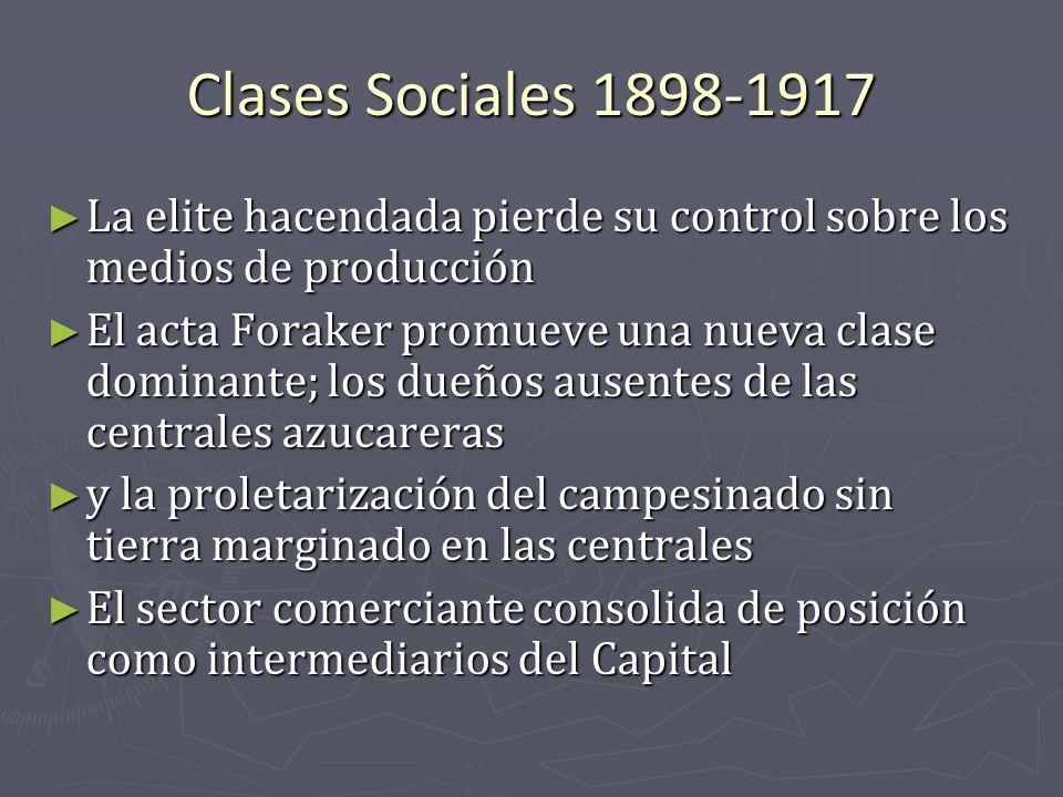Clases Sociales 1898-1917 La elite hacendada pierde su control sobre los medios de producción La elite hacendada pierde su control sobre los medios de
