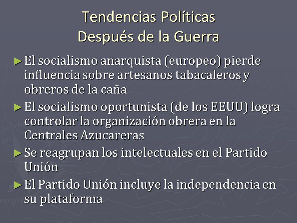 Tendencias Políticas Después de la Guerra El socialismo anarquista (europeo) pierde influencia sobre artesanos tabacaleros y obreros de la caña El soc