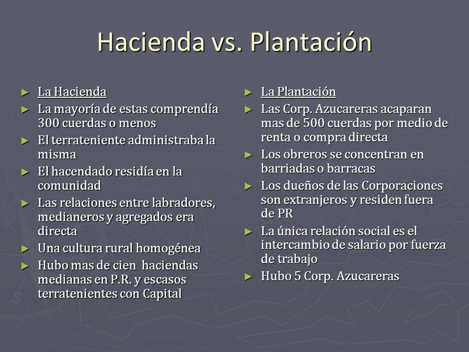 Hacienda vs. Plantación La Hacienda La Hacienda La mayoría de estas comprendía 300 cuerdas o menos La mayoría de estas comprendía 300 cuerdas o menos