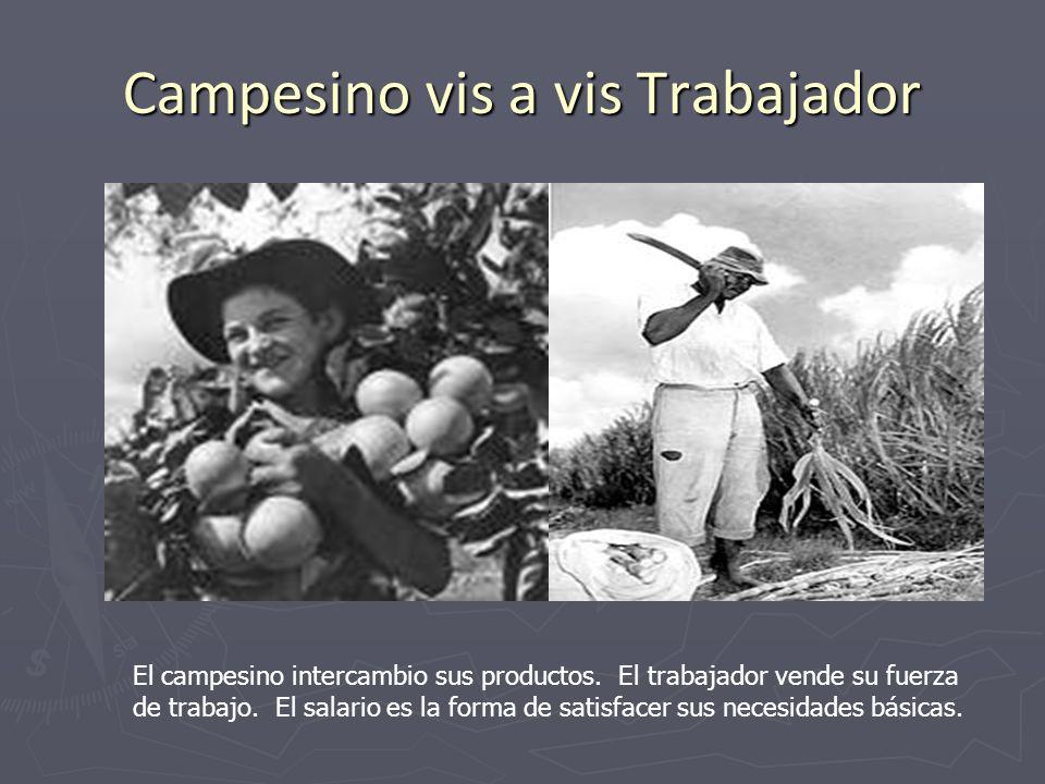 Campesino vis a vis Trabajador El campesino intercambio sus productos. El trabajador vende su fuerza de trabajo. El salario es la forma de satisfacer