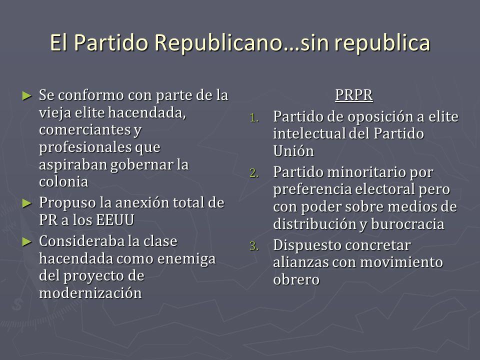 El Partido Republicano…sin republica Se conformo con parte de la vieja elite hacendada, comerciantes y profesionales que aspiraban gobernar la colonia