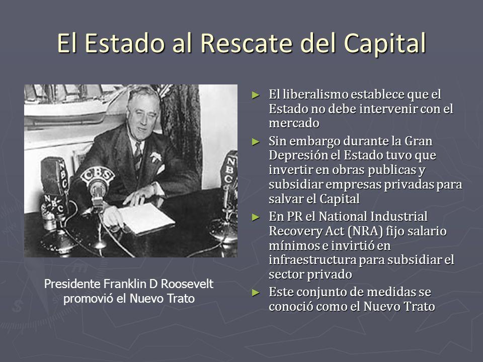 El Estado al Rescate del Capital El liberalismo establece que el Estado no debe intervenir con el mercado Sin embargo durante la Gran Depresión el Est